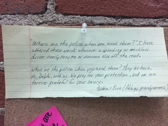 This note, written by the grandparents of Abby Williams,