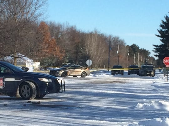 Police have taped off the scene of a Rib Mountain shooting involving a Marathon County Sheriff's deputy, Thursday, March 2, 2017.