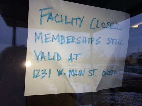 A sign greeted members of Fitness US earlier this year