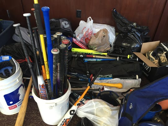 Equipment gathered by the USABL for the Asbury Park Little League. The exchange took place Sunday in Eatontown.