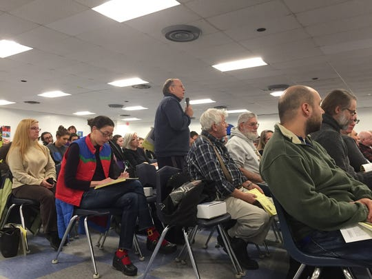 South Burlington resident Al Gross called the school budget unsustainable at Monday's Town Hall meeting on March 6, 2017.