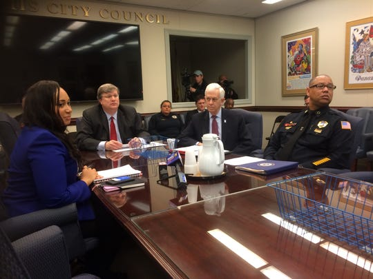 Memphis Mayor Jim Strickland (center, left) presents a $6.1 million grant for police recruitment and retention to City Council members. Joining him at the table were Memphis Chief Human Resources Officer Alex Smith (left), Police Director Michael Rallings (right) and Memphis Shelby County Crime Commission President Bill Gibbons.