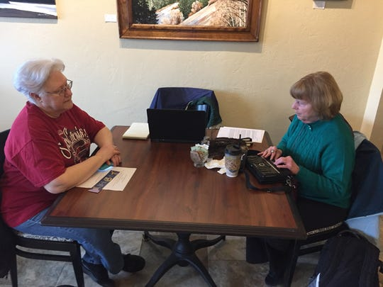 Pastor Janine DeLaunay of Stayton United Methodist Church, right, and Santiam Heritage Foundation President Wendy Weddle Stone at Moxieberry in downtown Stayton for Canyon Conversations.