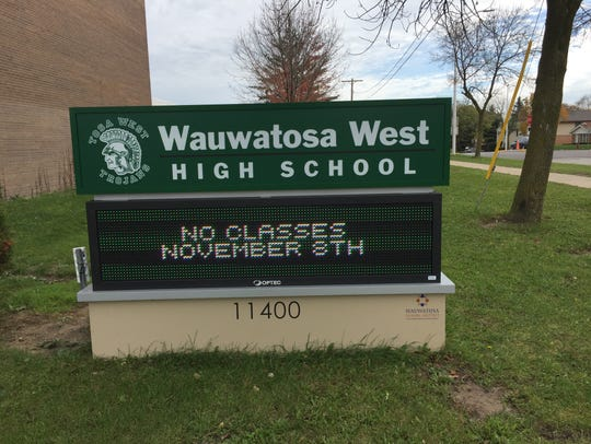 Wauwatosa West High School marquee.
