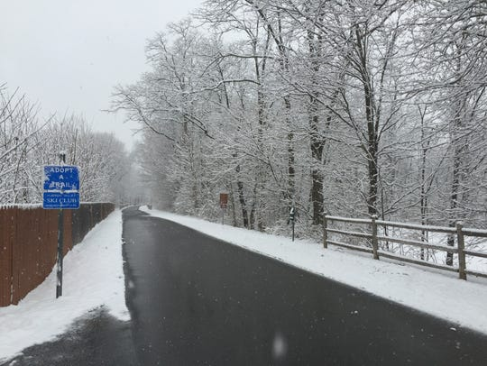 Snow falls on the Dutchess Rail Trail near Old Manchester and Overrocker roads in the Town of Poughkeepsie in this file photo.