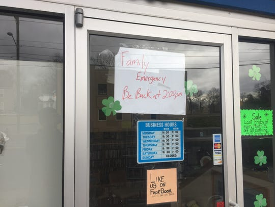 A sign at Delmarva Thrift on March 10.