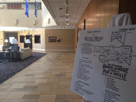 The Grand Avenue Pub & Grille is located across the front lobby at Hotel Mead & Conference Center.