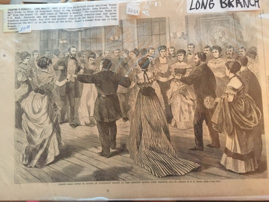 "A print titled, ""Grand Ball Given in Honor of President Grant at the Stetson House, Long Branch July 26 from the Aug. 14, 1869 edition."