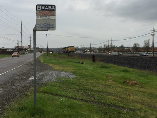 In this image, a Redding Area Bus Authority stop is seen Wednesday on Eastside Road near Star Drive, just east of Highway 273 and the train tracks. A southbound Union Pacific locomotive struck and killed a boy who was running across the tracks near the bus stop at the intersection of Westside Road.