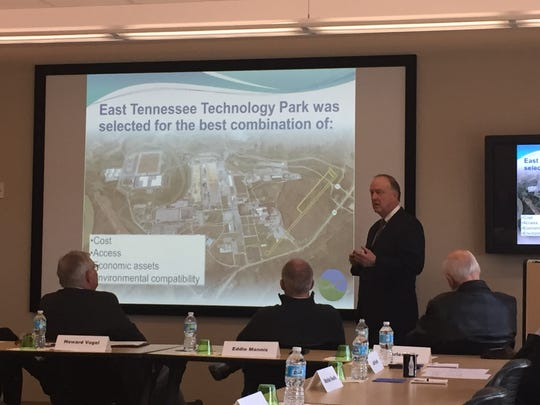 Billy Stair, with Stair Public Affairs, updates the Metropolitan Knoxville Airport Authority on the status of a planned Oak Ridge regional airport.