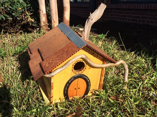 Husband-and-wife team Caleb and Sarah Veryzden created this birdhouse of reclaimed wood and found objects. Caleb is a woodworker; Sarah an artist and volunteer at Cancer Support Community East Tennessee. This is among the year's 'Artitude' objects to be auctioned.