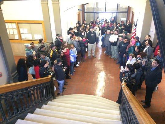 Protesters flood into Sheboygan's City Hall on Monday
