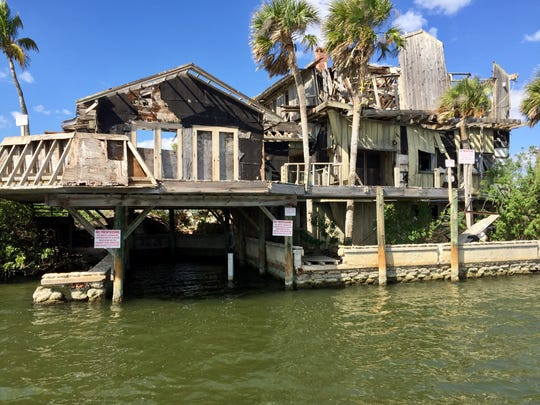 The decrepit Dragon Point mansion's roof recently collapsed, as seen in this image from early March.