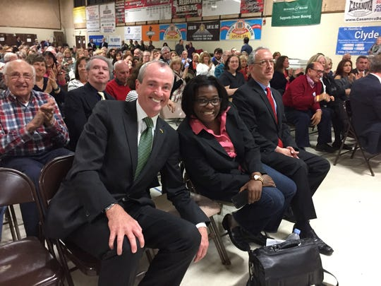 Phil Murphy, left, with fellow gubernatorial challengers Monica Brinson and Thomas Zinna at the Parsippany PAL building during the annual Morris County Democratic Committee convention March 21, 2017
