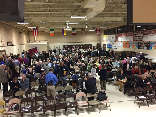 Democrats fill the Parsippany PAL building for the annual Morris County Democratic Committee convention March 21, 2017