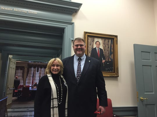 Sen. Colin Bonini, R-Dover South, meets Shirley Shawe, mother of TransPerfect co-owner Phil Shawe and a 1 percent owner of TransPerfect, last week at Legislative Hall.