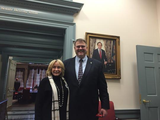 Sen. Colin Bonini, R-Dover South, meets Shirley Shawe,