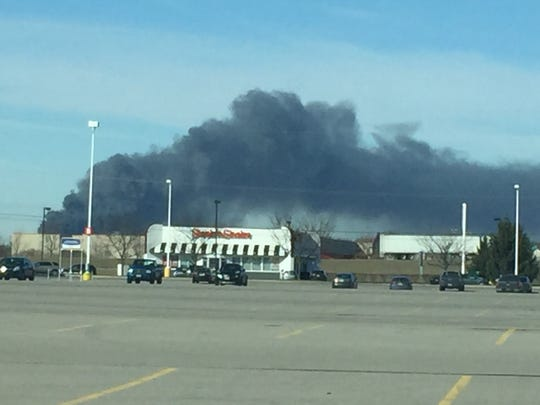 A view of the fire from the US 23-Ohio 95 junction east of Marion.