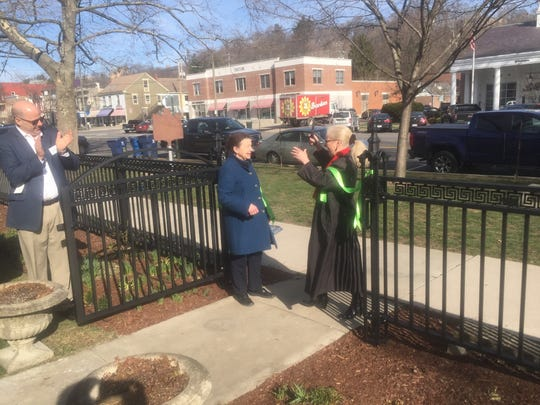 The Robbins Hunter Museum also held a ribbon cutting for its new fence on March 23. Here, Ann Lowder, museum executive director (left) and Deb Tegtmeyer, grants committee chair of the Granville Community Foundation, do the honors.