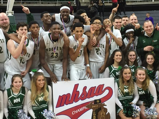 New Haven celebrates its Class C boys basketball state