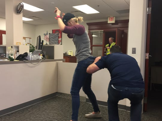 Multiple Licking County organizations participated in an active shooter training exercise Saturday at the Licking County Domestic Relations Court building in downtown Newark.