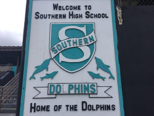Southern High School's sign is shown in this March