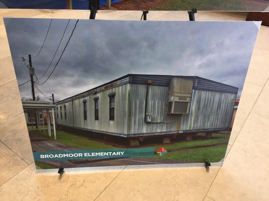 This photo exhibit shows a temporary classroom building at Broadmoor Elementary. If voters approve a new sales tax, the money would go toward replacing buildings like this with permanent construction.