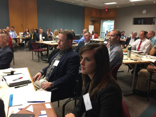 Cybersecurity professionals participate in a meeting on Tuesday, March 28, 2017, at Gulf Power Company's downtown office in Pensacola. FloridaWest Economic Development Alliance organized the meeting to gather input on the industry.