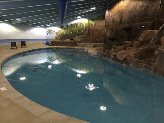 The swimming pool in Larry Hall's Survival Condo.