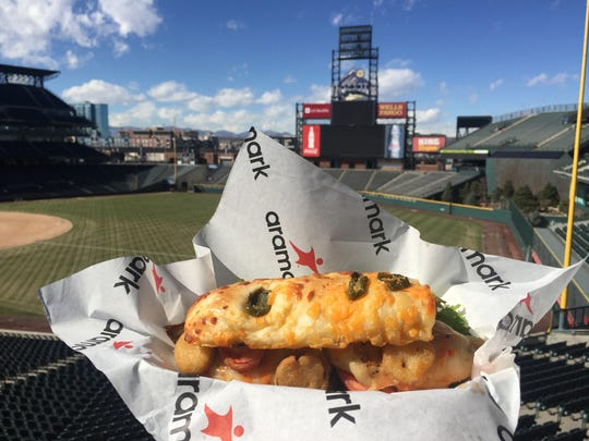 A new spicy chicken sandwich offered at Coors Field