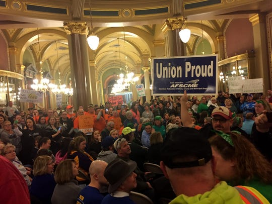 The Iowa Capitol Rotunda was packed, mostly with union