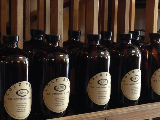 Bottles of cold brew coffee at Asbury Park Roastery.