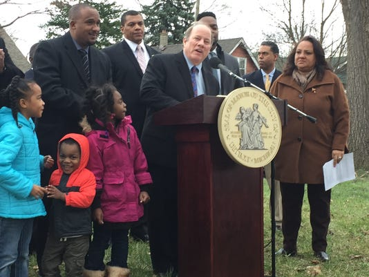 Mayor Mike Duggan addresses the announcement ceremony in the Fitzgerald neighborhood