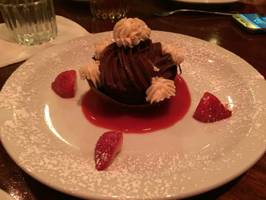 Georgio's has a chocolate dessert called the Luxurious Frozen Bavarian Chocolate Mousse with mascarpone Greek yogurt cream and strawberry coulis.
