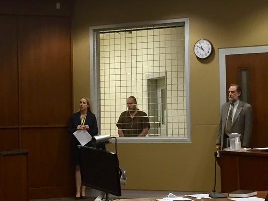 Timothy Robert Gallion, 48, of Barnardsville, appeared in Buncombe County District Court on a first-degree murder charge and second-degree arson charge Thursday April 6, 2017. Buncombe County Assistant Public Defender Kerry Glasoe-Grant appeared on his behalf.