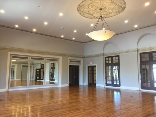 The original oak floors in the ballroom were restored
