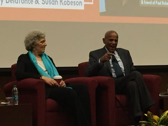 Discussing Paul Robeson's life and legacy of civil rights activism, Robeson's granddaughter Susan Robeson and singer, songwriter, actor, and social activist Harry Belafonte spoke at Rutgers University's  Second Annual Paul Robeson Lecture Series on April 5.