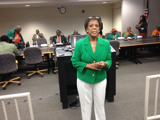 FAMU's legislative lobbyist Barbara Cohen-Pippin discusses the afternoon agenda at luncheon at FAMU Day at the Capitol.