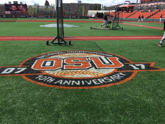 The third and first base lines at Goss Stadium on Saturday commemorated the 10th anniversary of the 2007 national championship team.