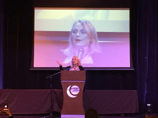 Tess Harper, an actress and union activist, speaks about the gains made by labor organizations at the Greene County Democrats' Jackson Day at the Oasis Convention Center on Saturday, April 8, 2017.
