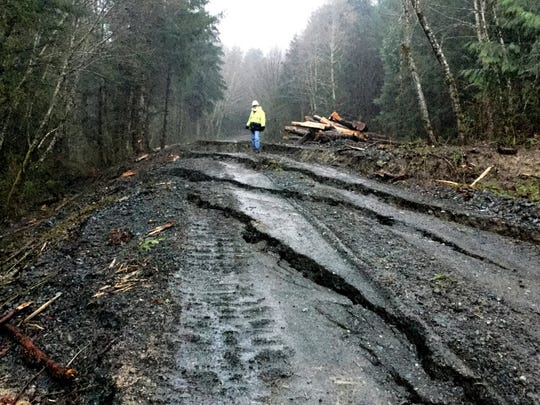 This Friday photo provided by the state Department of Natural Resources shows cracks on a forest access road near Highway 530 near Oso.