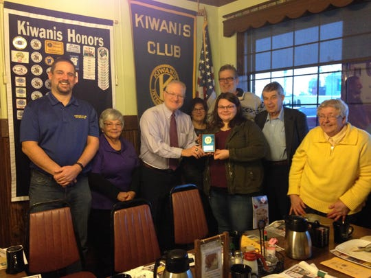 The Waupun Kiwanis Club welcomed Katie VanBuren as a Junior Kiwanian in January. Pictured are, from left: Kiwanis President Scott Ritzema, Katie's grandmother, Kiwanian Dennis Overlien, Jennifer VanBuren, Katie VanBuren, Jim VanBuren, Father John Radetski and Sister Gemma Therese Harvey.