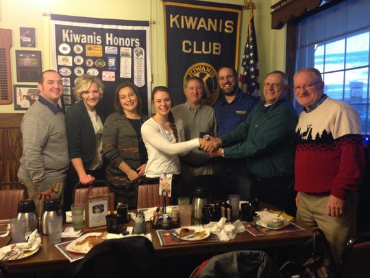 The Waupun Kiwanis Club welcomed Josie Venhuizen as a Junior Kiwanian in December. Pictured are, from left: Youth Leaders Al and Grace Bruins, mom Laura Venhuizen, Josie Venhuizen, Pastor Craig Van Hill, Kiwanians Scott Ritzema, Reuben Hopp and Dennis Overlien.