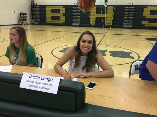Chandler Basha kicker Becca Longo signs her letter