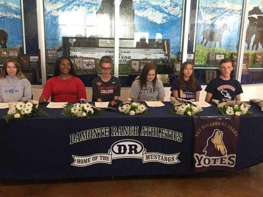 Damonte Ranch had six sign Letters of Intent on Wednesday. Left to right are: Morghan Ferreira, soccer, Dakota Wesleyan University-South Dakota (NAIA);Cassidy Osborne-Butler, track and field, UNLV; Alex Riggsby, cross country St. Mary's, Calif. Danielle Westbrook, lacrosse, Ottawa University, Kansas; Erin Moyer, cross country, College of Idaho; and Tony Bolin, cross country, Southwestern Oregon Community College