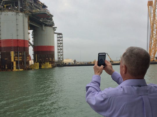 Leaders from Corpus Christi's city government and business community toured parts of the Port of Corpus Christi on Monday, April 10, 2017. The boat tour was intended to give them a perspective of how much the port has evolved in recent years and the challenges ahead for future growth.