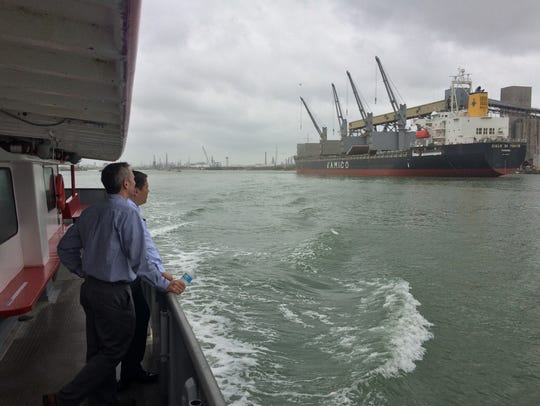 Leaders from Corpus Christi's city government and business community tour the Port of Corpus Christi on Monday, April 10, 2017. Port officials hoped to give them an intimate perspective of the challenges the nation's fourth-largest port faces with growth.