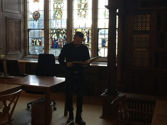 Pastor Joe Basile in London at Oxford University's Bodleian Library doing research with ancient Bibles and artifacts.