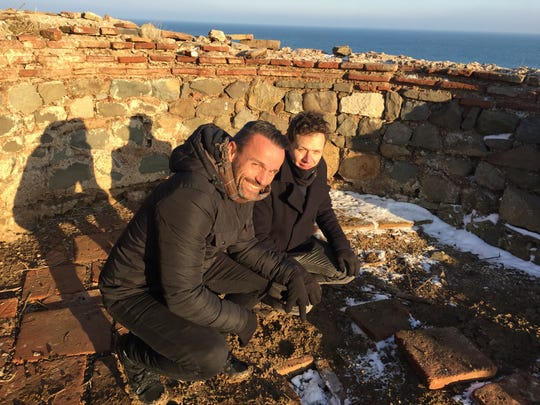Pastor Joe Basile and Oxford University geneticist, George Busby, on St. John's Island in the Dead Sea at the actual dig site where a box was discovered containing bones and teeth that some believe to be the actual bones of John the Baptist, Jesus' cousin.