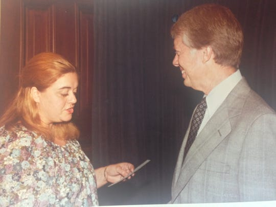 Bea O'Rourke chats with President Jimmy Carter about
